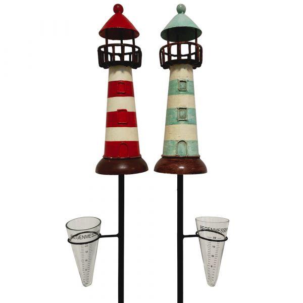 Toller Regenmesser Leuchtturm Gartendeko Metall rot ODER blau 1 Stk 12x28x135 cm