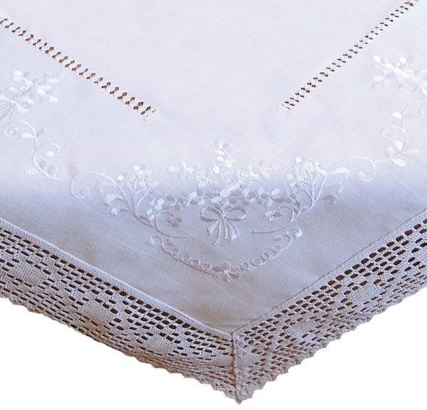 Tischdecke Tischtuch weiß edle Stickerei & Häkelspitze Landhausstil 130x220 cm