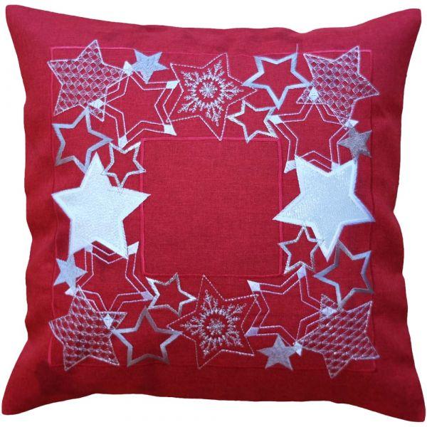 Kissenbezug Kissenhülle Sternen Banner Weihnachten Stick 40x40 cm 1 Stk rot