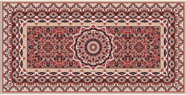 Teppichläufer Küchenläufer Teppich Perser Stern Ornament beige waschbar 60x120 cm