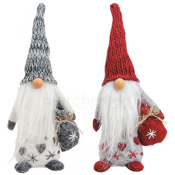 Weihnachtswichtel mit Herz Dekofiguren Weihnachtsdeko rot & grau 2er Set je 19 cm