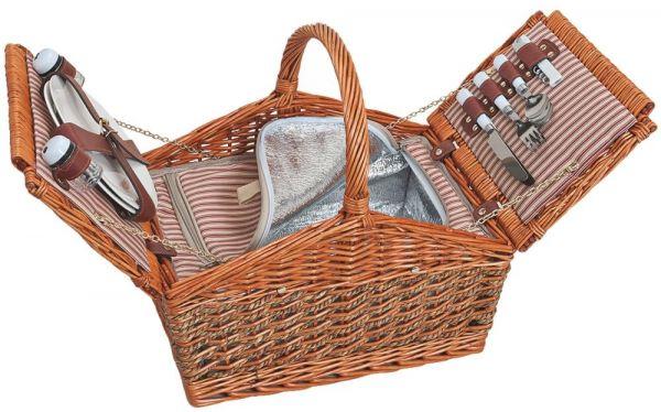 Picknickkorb 2 Personen Weidenkorb 15-tlg inkl Mehrweg Geschirr & Kühltasche