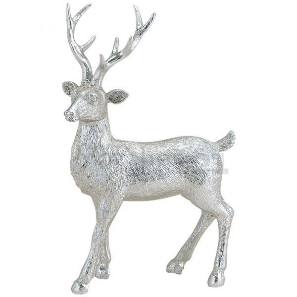 Hirsch Skulptur silber zum Stellen Dekofigur Weihnachten Polyresin 1 Stk 14x21 cm