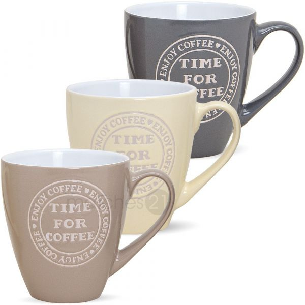 Große Tasse Becher Kaffeebecher COFFEE TIME 1 Stk. B-WARE 11 cm / 400 ml