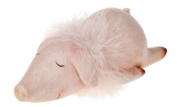 Schwein schlafend liegen Deko Figur rosa Fellkragen Kunststoff Ferkel 20x9 cm