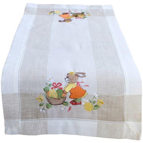 Tischläufer Mitteldecke Ostern Hasenmädchen Frühling Leinenoptik Stick 35x70 cm