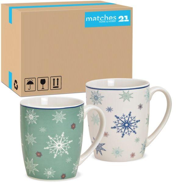 Tassen Kaffeebecher Schneeflocken Rand blau Porzellan 36 Stk sort 300 ml 10 cm