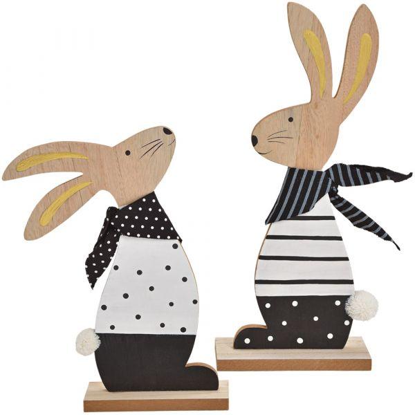 Osterhasen Hasenfiguren Hasenpaar Ostern Holz Deko Figuren schwarz weiß 2er 36 cm