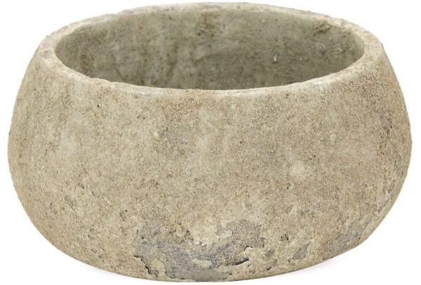 Pflanzschale Blumenschale Antike Optik flach rund Zement grau 1 Stk Ø 23x12 cm