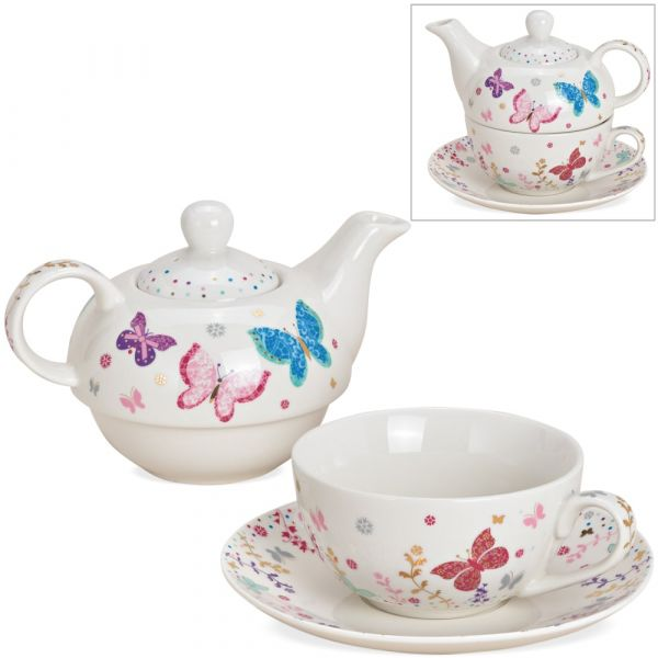 Tea For One Geschenk Set Porzellan bunte Schmetterlinge Teekanne Tasse & Teller