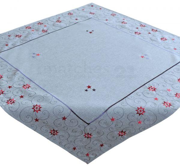 Mitteldecke Tischdecke Sterne Weihnachten hellgrau Stick grau / rot 85x85 cm