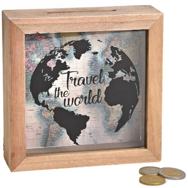 Spardose Geld Rahmen Holz Einwurfschlitz Geldgeschenk – Travel the world 15x15cm