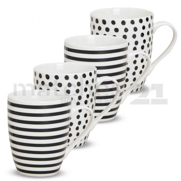 Tasse Becher Streifen & Punkte schwarz / weiß Porzellan 10 cm / 300 ml 1 Stk. B-WARE