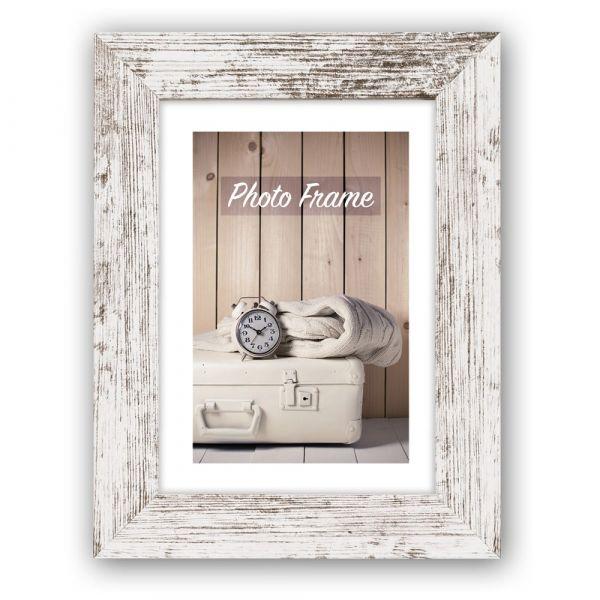 Bilderrahmen Fotorahmen Holz weiß Vintage Look leichte Rillenstruktur 10x15 cm