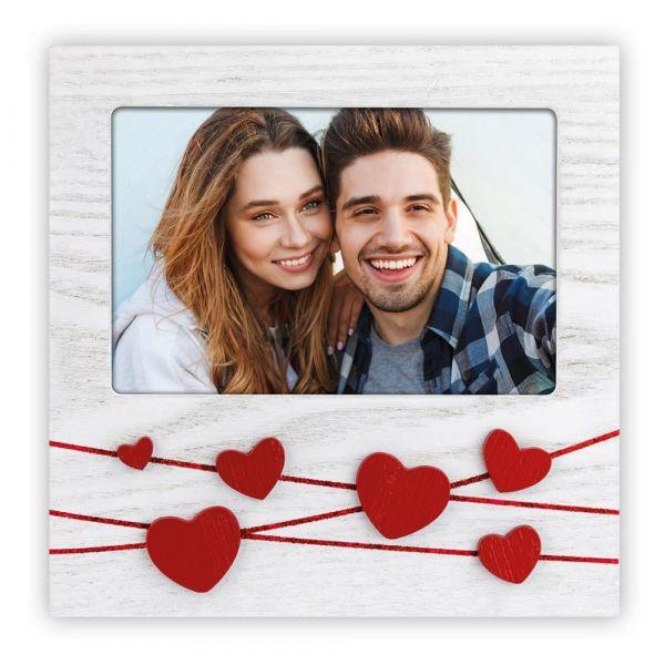 Bilderrahmen Fotorahmen Holz weiß mit roter Schnur & Herz Applikationen 10x15 cm