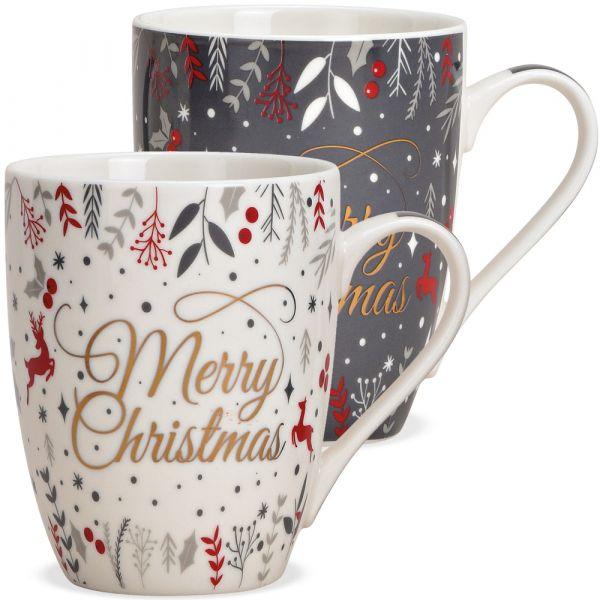Tasse Kaffeebecher Merry Christmas grau weiß Porzellan 1 Stk **B-WARE** 10 cm