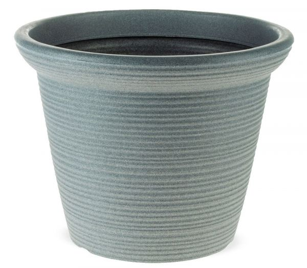Zeitloser runder Blumentopf mit Rillenoptik Kunststoff hellgrau Ø 23,5 cm
