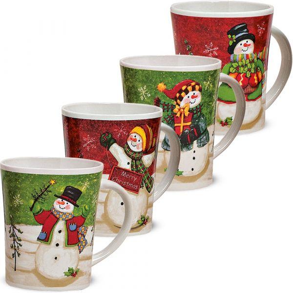 Weihnachtstassen Tassen Becher Kaffeebecher Schneemann 4er Set 11 cm / 450 ml