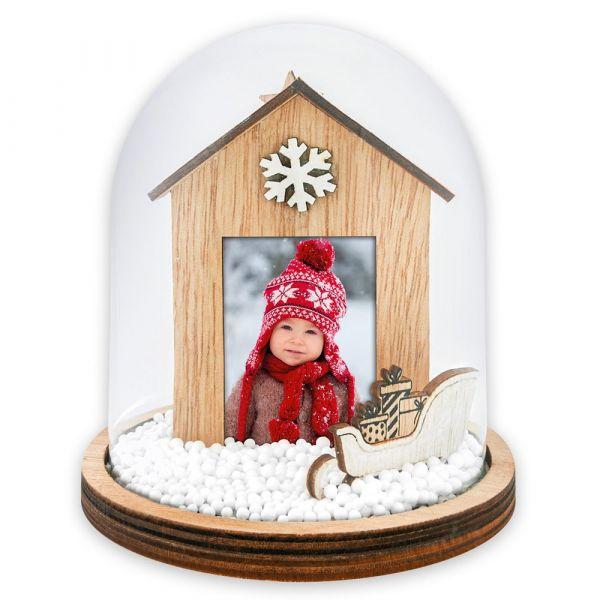 Foto Schneekugel Bilderrahmen Weihnachten SCHLITTEN & HAUS 1 Stk Ø 15 cm