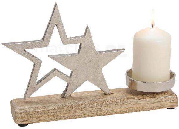 Sterne Kerzenhalter Deko Holz & Metall Weihnachten silber / braun 1 Stk 25 cm