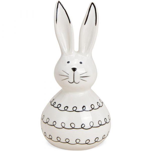 Osterhase Hase Keramik Dekofigur Ostern Osterdeko weiß schwarz 1 Stk 6x13 cm
