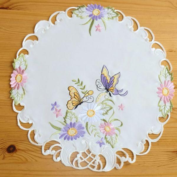 Mitteldecke Tischwäsche Schmetterlinge Blumen Zierkante Stick bunt Ø 40 cm rund