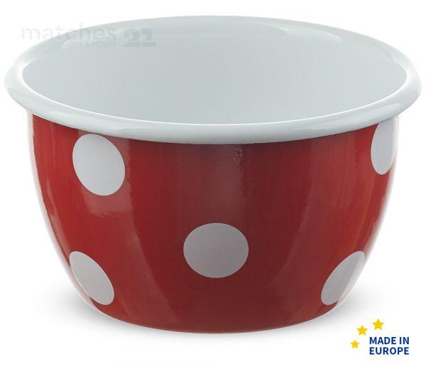 Email tiefe Schüssel Salatschüssel rot mit weißen Punkten Emaille Ø 12 x 7,5 cm