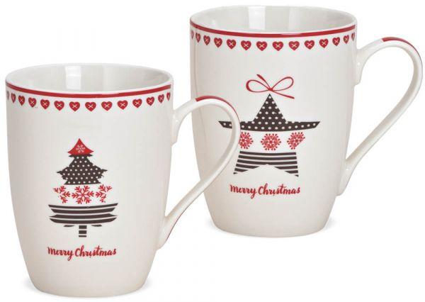 Tasse Weihnachtstasse Stern oder Baum Dekor 1 Stk **B-WARE** Porzellan 10 cm