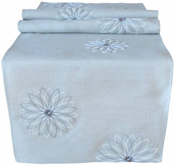 Tischläufer Tischwäsche Mitteldecke Blüten Stick grau & Lochstickerei 40x140 cm