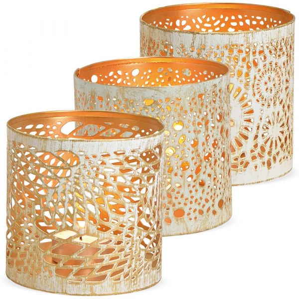 Windlichter Kerzengläser Metall orientalisch weiß gold 3er Set sort. Ø 10x11 cm
