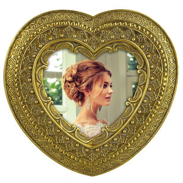 Bilderrahmen Fotorahmen Kunststoff Herzform aufwendig verziert Ornamente gold