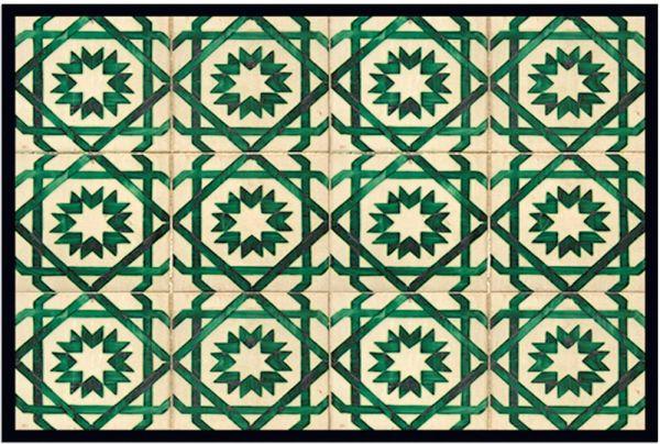 Fußmatte Fußabstreifer DECOR Kacheln Retro Stern grün beige waschbar 40x60 cm