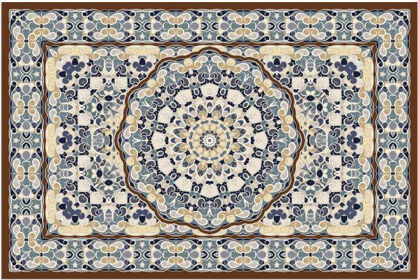 Fußmatte Fußabstreifer DECOR Perser Ornamente blau braun beige waschbar 40x60 cm