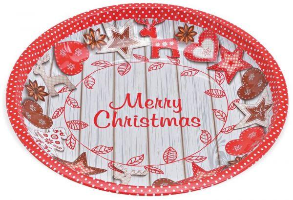 Plätzchenteller Blech Teller Motiv Merry Christmas rot / bunt 1 Stk Ø 25x3 cm