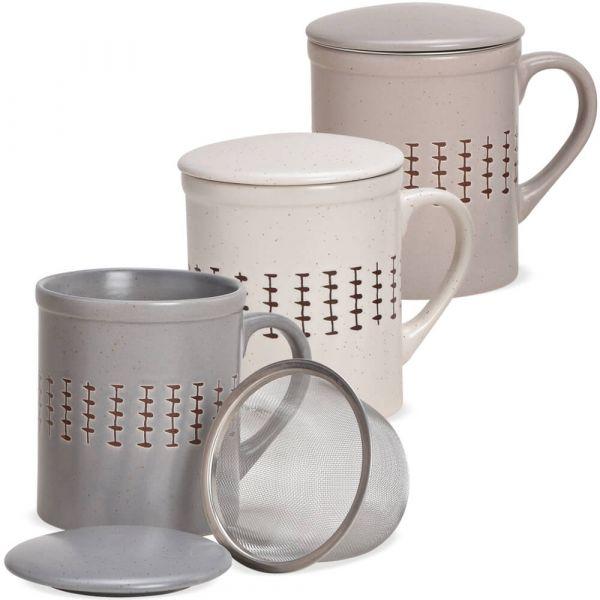Teetassen Teebecher mit Deckel & Sieb Landhaus Steingut Muster 3er Set sort 9 cm