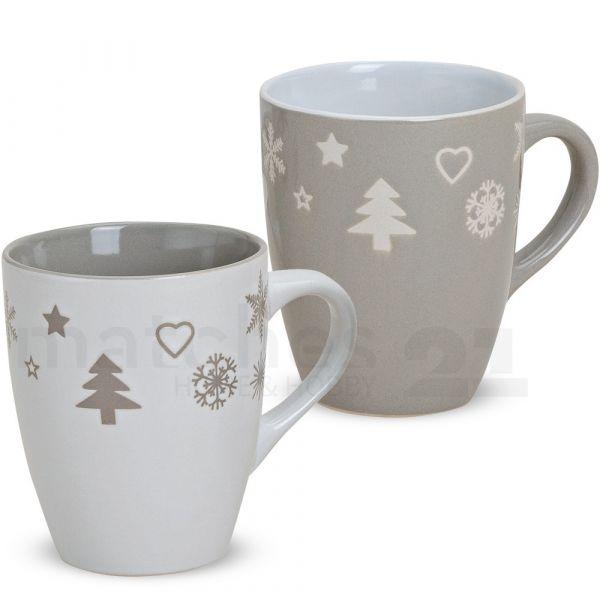 Tasse Becher Kaffeebecher Weihnachtsdekor 1 Stk. B-WARE Keramik 300 ml