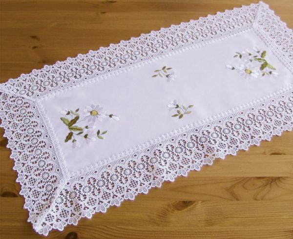 Tischläufer Mitteldecke Stick Voile Stoff mit Häkelkante Tischwäsche 35x70 cm