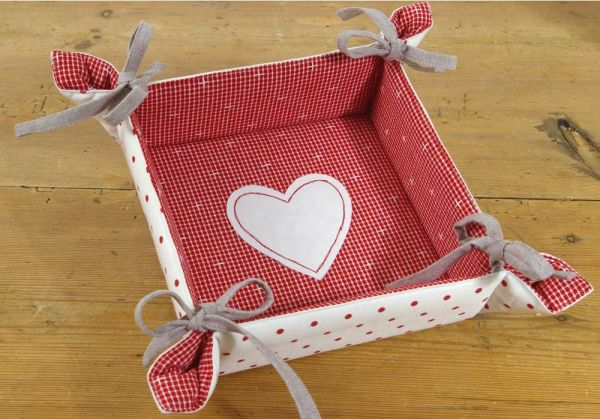 Brotkorb Textil Landhaus Premium ROSI weiß rot Punkte Herz Korb 20x20 cm