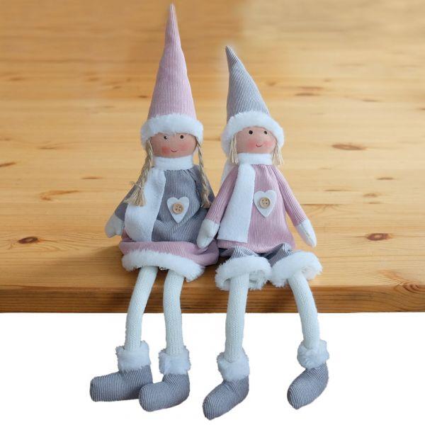 Wichtel Junge & Mädchen Weihnachten große Deko Figuren 2er Set grau rosa 32 cm
