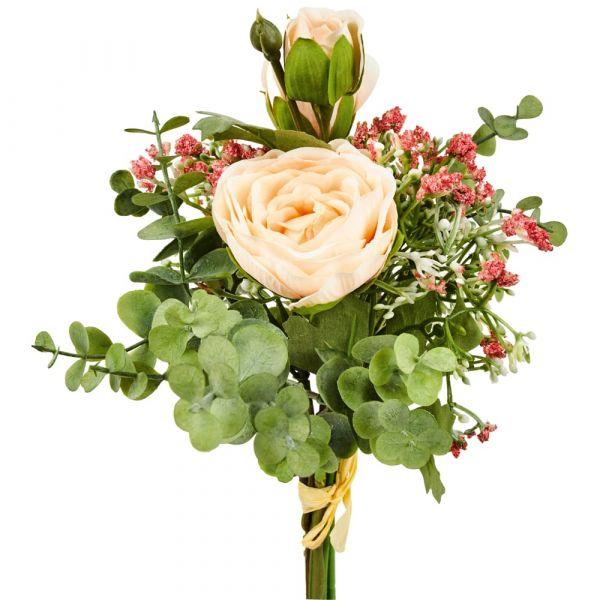 Rosenstrauß gebunden Kunstblumen Rosen Blumenstrauß 45 cm 1 Stk - rosa zartrosa