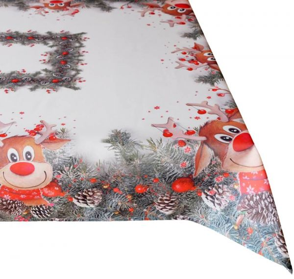 Tischdecke Mitteldecke Weihnachten witziger Elch weiß & Druck bunt 110x160 cm