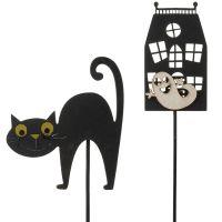 Dekostecker Geisterhaus mit Gespenst & Katze mit Buckel Deko Holz 2er-Set ca 30 cm