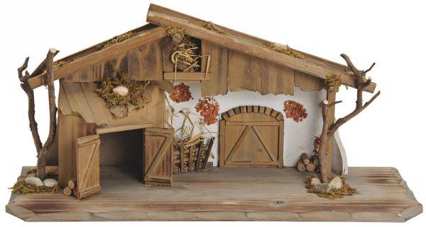 Große Krippe Holz Weihnachtskrippe alpenländischer Stall braun weiß 60x27 cm