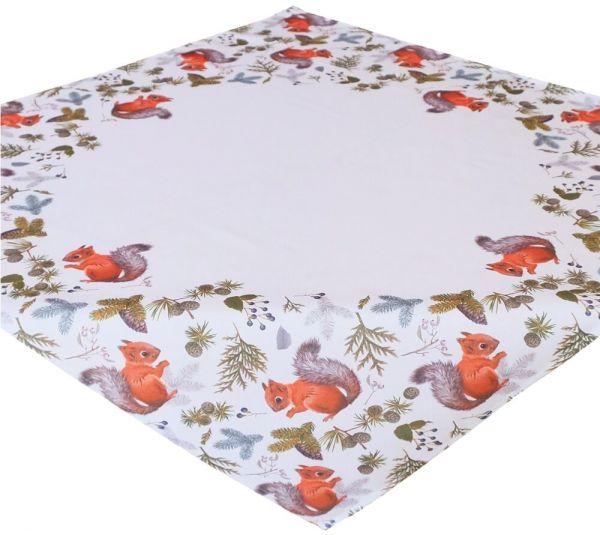 Tischdecke Mitteldecke Herbst Eichhörnchen weiß & Druck bunt 85x85 cm