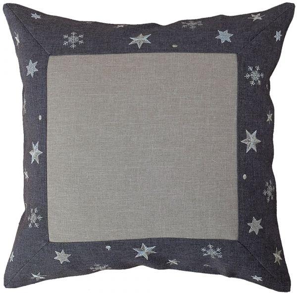 Kissenbezug Kissenhülle Sterne Bordüre gestickt Weihnachten 40x40 cm grau grau