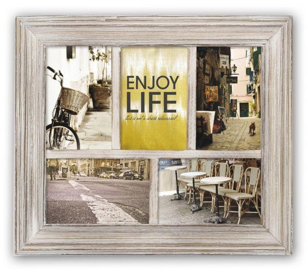 Bilderrahmen Collage Holz braun Shabby abgeflachte Holzleiste 5 Fotos 10x15 cm
