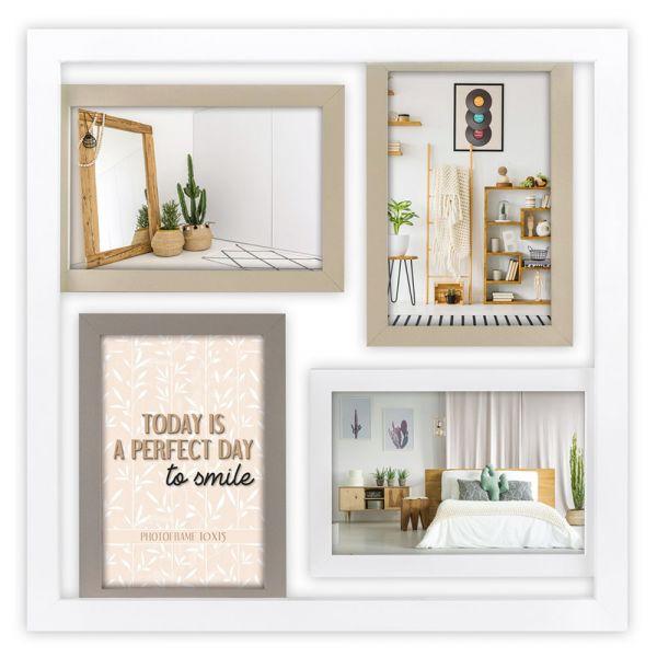 Collage quadratisch 4 Fotos Galerierahmen Fotogalerie Holz weiß 4 Rahmen im Rahmen