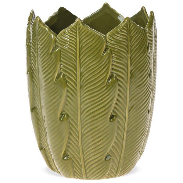 Blumenvase Pflanzgefäß Vase Blätterrelief Motiv Blätter grün 1 Stk - Ø 12x16 cm