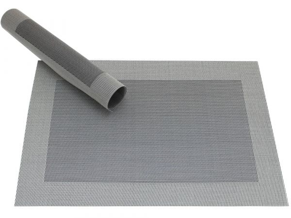 Tischset Platzset BORDA silber / schwarz 1 Stk. Kunststoff gewebt abwaschbar