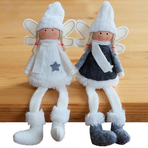 Kantenhocker Engel mit Flügel Weihnachten Deko Figuren 2er Set sort 18 cm